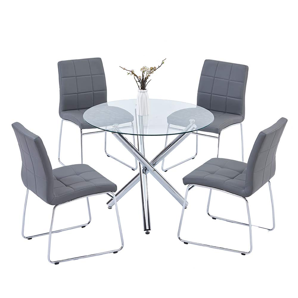 High Quality Durable And Classic Round Glass Dining Table Set With ...