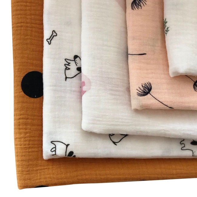 print cotton muslin crinkle fabric for baby swaddle blanket double gauze
