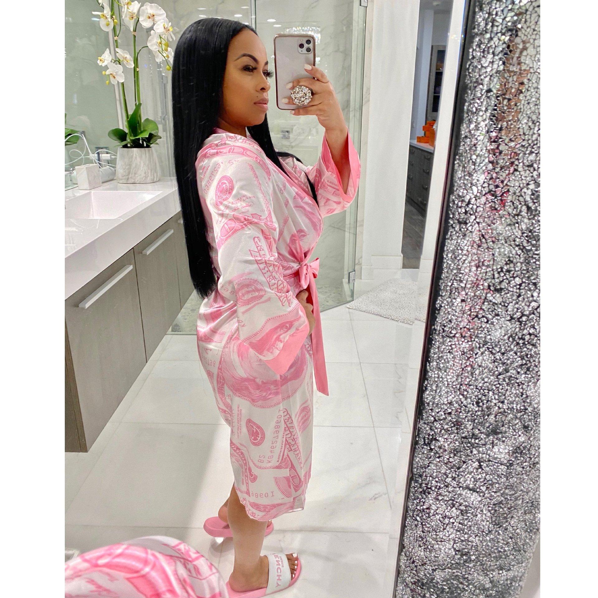 M0360 New arrivals 2020 sexy satin sleepwear women loungewear money print bath robe
