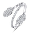 925 Silver Jewelry Fancy Leaf Shaped 925 Sterling Silver Rings CZ Cubic Zirconia Rings Jewelry Gifts For Women