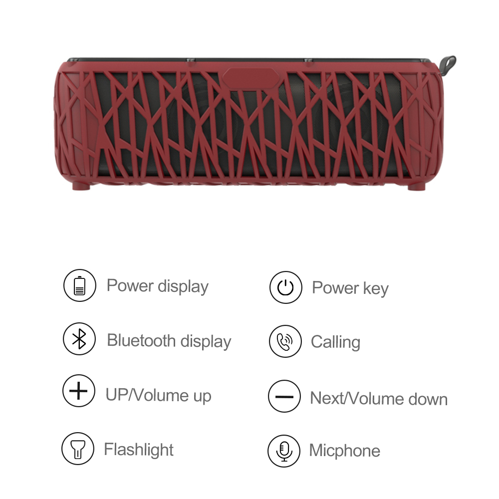 IPX6 waterproof solar panel speaker, 5200 mobile power portable outdoor 65 hours play time waterproof speaker