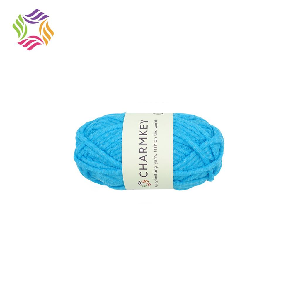 Charmkey chunky fancy t shirt 100% polyester solid color yarn cheap price for crochet fashion clothing free sample