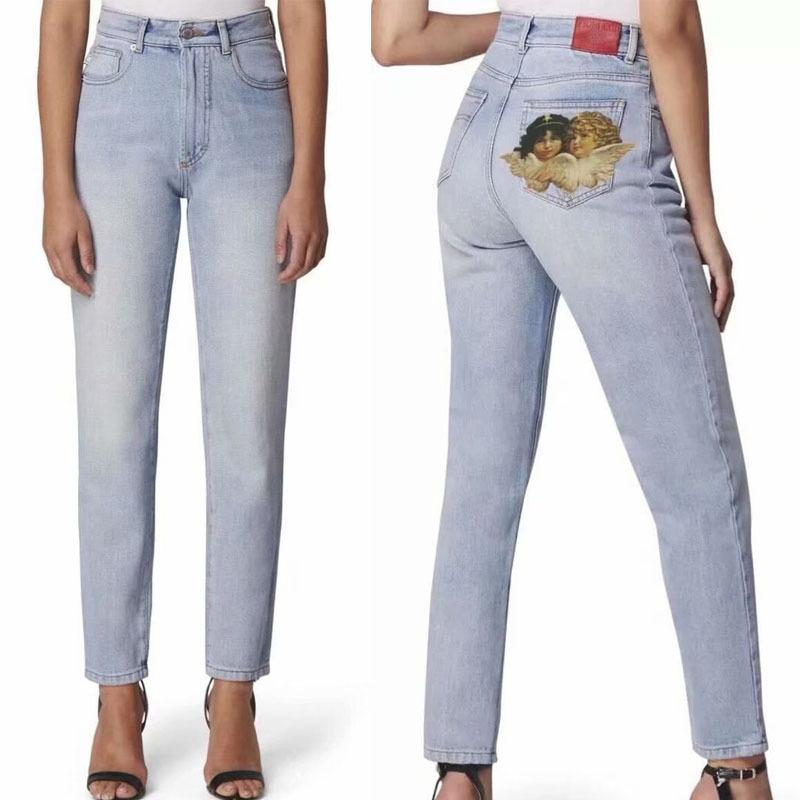 Pantalones Vaqueros Ajustados De Cintura Alta Para Mujer Pantalon Vaquero Con Estampado De Angel Color Azul Claro Pantalones Pitillo Buy Jeans Para Mujeres Vaqueros De Novio Jeans Para Mujeres Altas Product On Alibaba Com