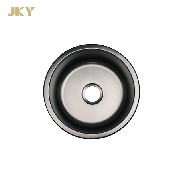 Black Round Undermount Stainless Steel Kitchen Sink Nano Bar Island Sink
