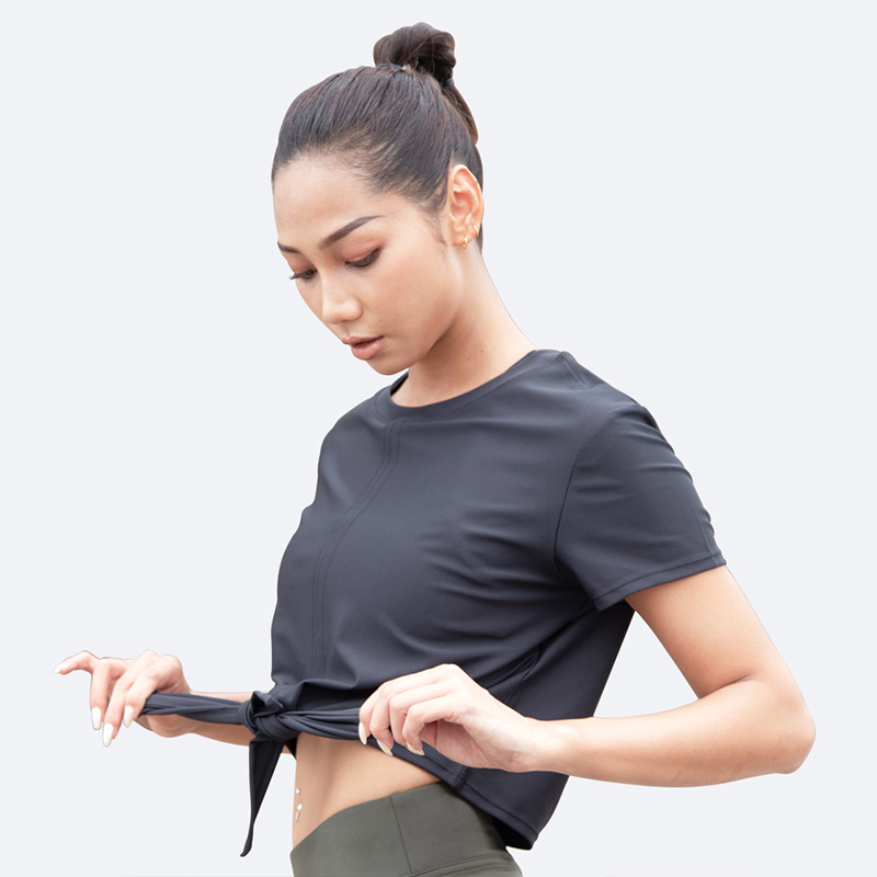 Summer New Fashion Polyester Cotton T-shirt Ladies Plus Size Fitness Running Breathable Ice Silk Quick-Drying Top