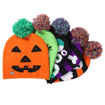 New knitted light-up hat for children and adults party supplies pumpkin Ghost hat with lantern hat