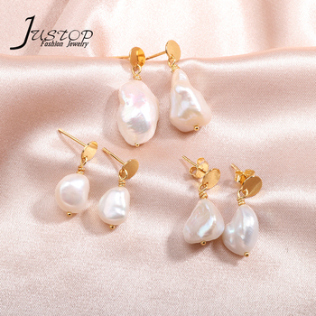 Real gold plated 925 sterling silver different size freshwater baroque pearl earrings