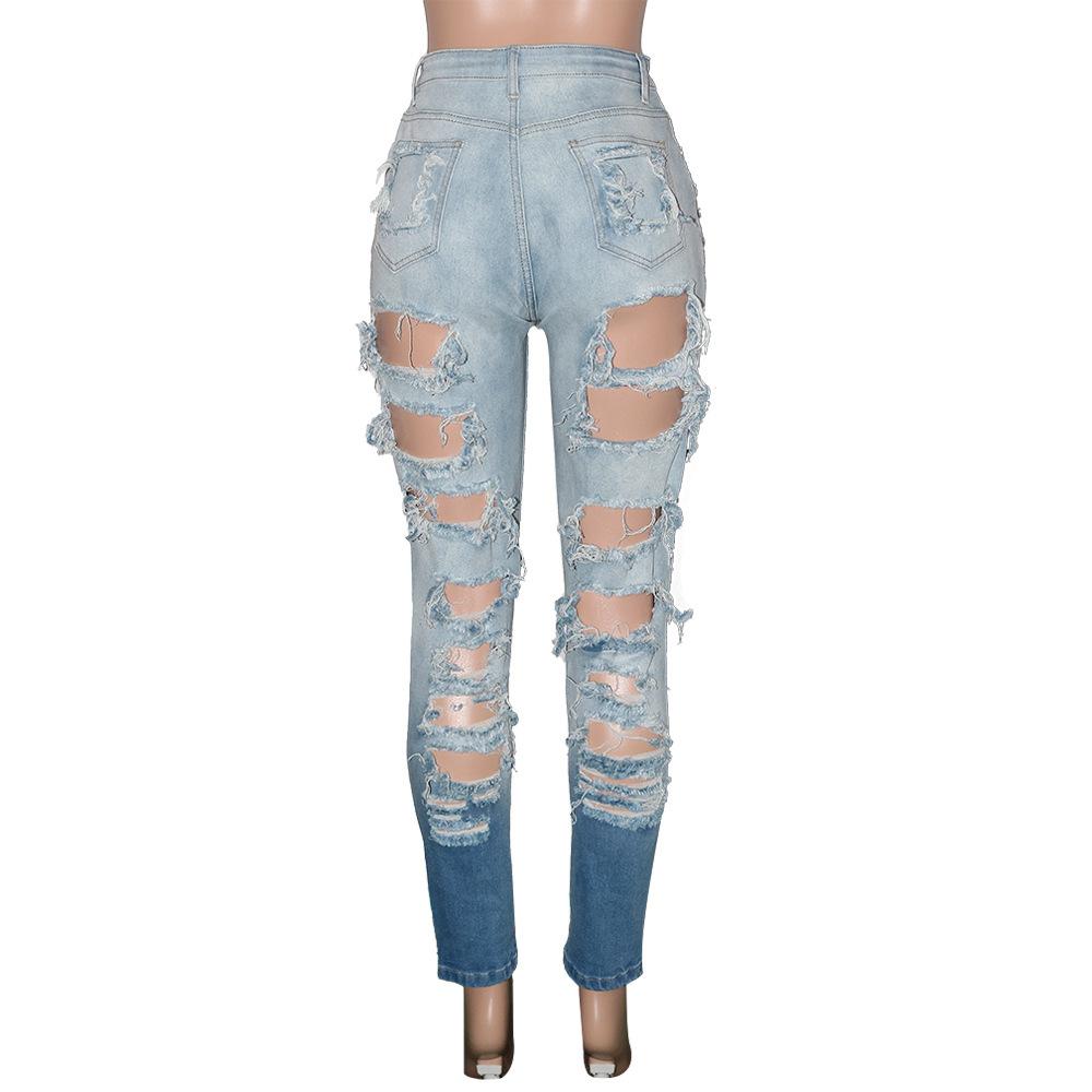 New design stretchy skinny middle waist women ripped jeans scrunch distress women denim jeans