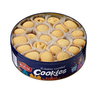 2021 hot sale butter cookies for Santa Christmas gift in blue tin homemade butter cookies