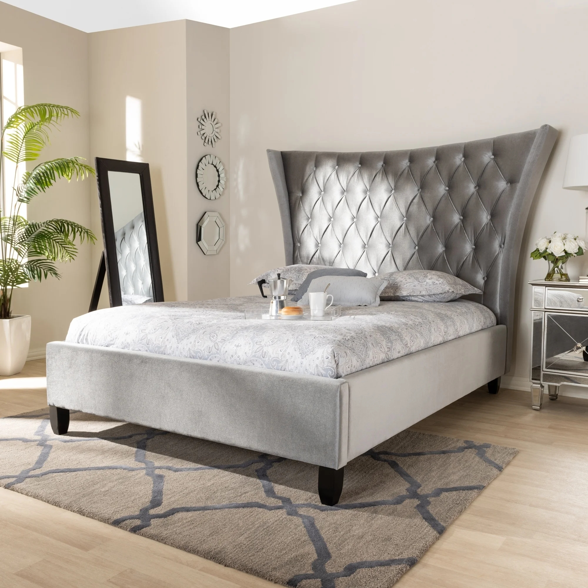 Modern Grey Luxury Velvet King Platform Wood Beds With Headboard Buy Beds Luxury Bed King Size Bed Product On Alibaba Com