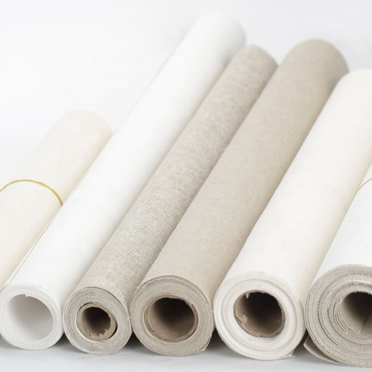 Practice Pure Linen Fabric Artist Rolls Wholesale Stretched Canvas