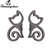 Серьги Shuangshuo для женщин, миниатюрные, миниатюрные, кошачьи, серьги-гвоздики в виде оленя(Китай)