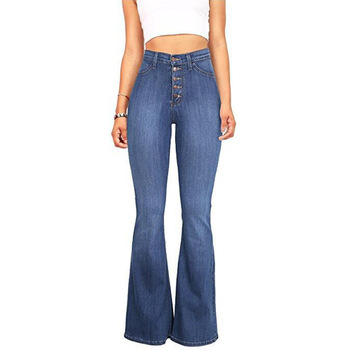 Old fashion flare pants Ladies skinny Jeans Denim tall women jeans