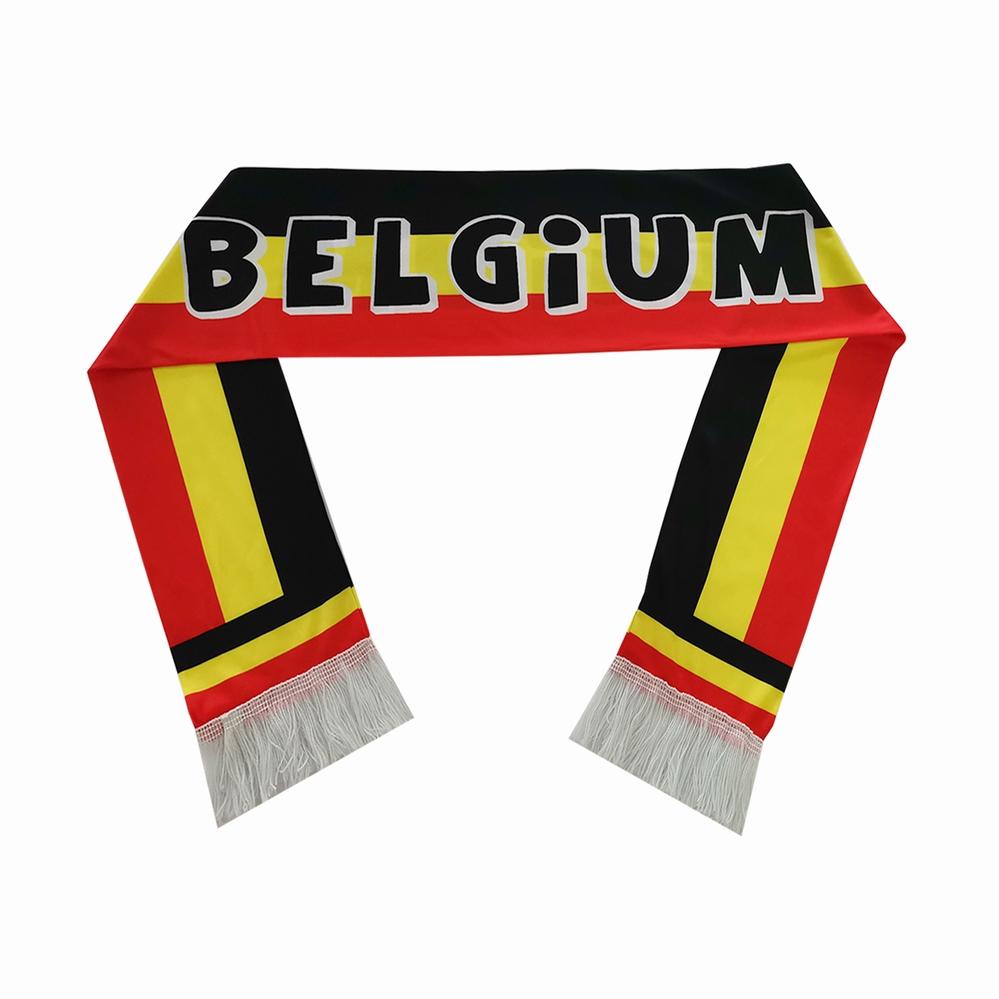 Satin High Quality Custom Flag Design Digital Printing Manufacturing Sports Scarf With Tassel Belgium Soccer Scarf
