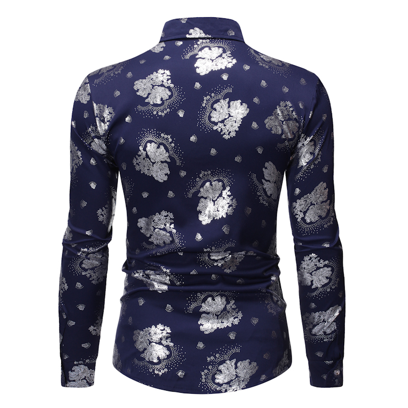 2021 Blusa De Frio Masculino Men's Hot Stamping Printing Trend One Piece Long-sleeved Formal Shirt