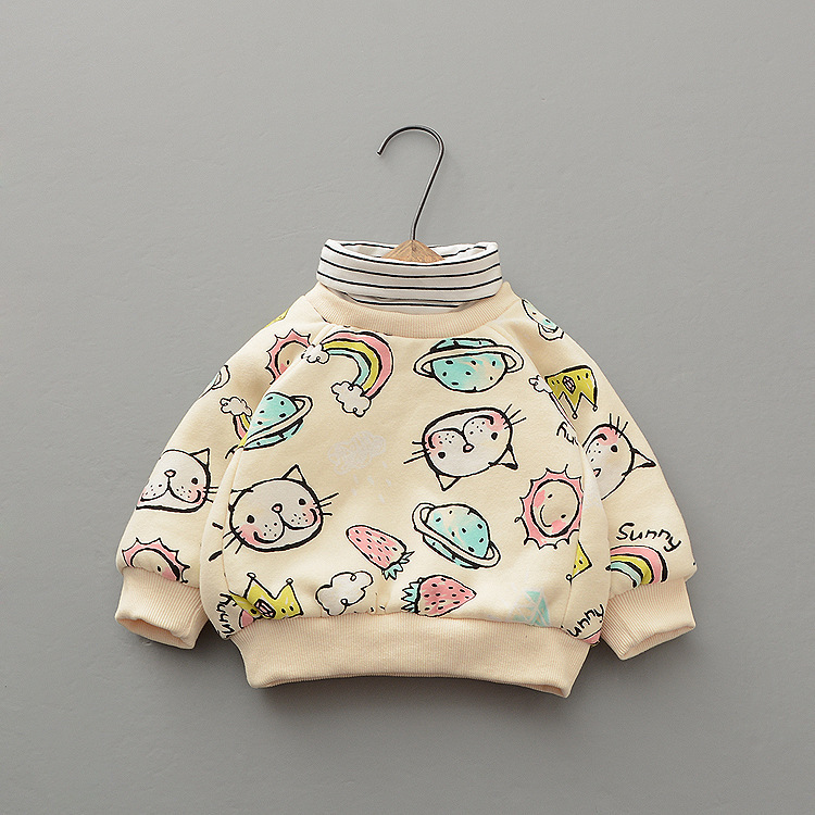 KYBC94005 Korean winter Pullover high collar thickened plush new cartoon printed sweater for kids girls
