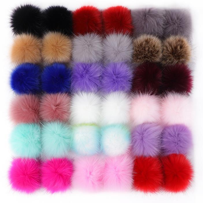 wholesale accessories pom pom faux fur ball  Faux Fur Pompons For keychain