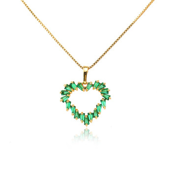 green colored heart shape cz gemstone pendant