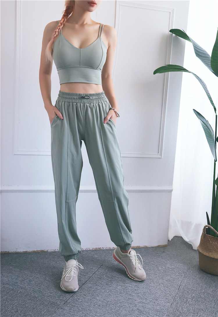 New style high waist drawstring sports pants loose casual women fitness wear