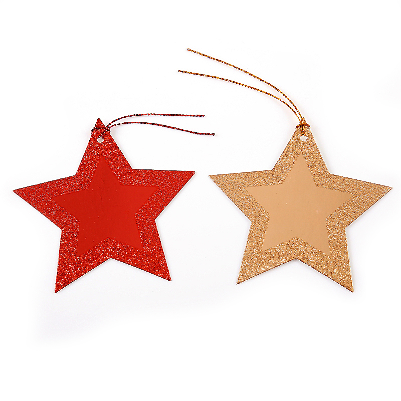 Popular foil and glitter Decoration Die Cut tree star snow Shape personalised gift tags