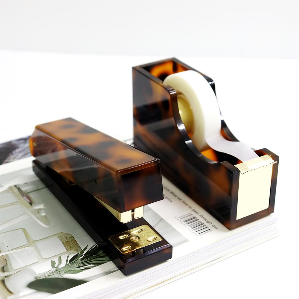 office supplies table organizer set acrylic brown leopard desktop accessories