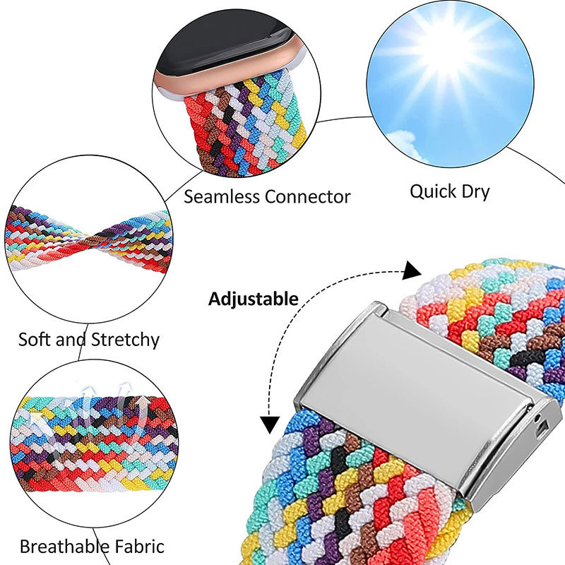 New arrival braided solo loop band for apple watch 6 se sport nylon strap for apple watch fabric bands with buckle