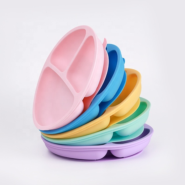 Custom Silicone Free Lovely Smile Face Lunch Tableware Kitchen Fruit Dishes Children Feeding Dinner Plates Bowls