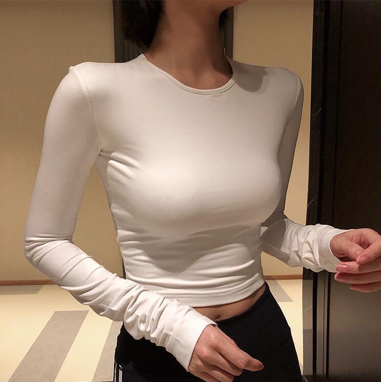 Runwaylover E333 fashion sexy ladies long sleeve cotton o-neck sexy short crop top