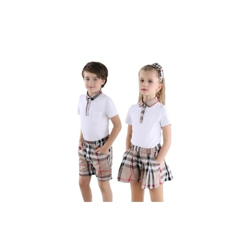 Custom Kids Polo Design school uniform for Primary students Plaid Skirt and pants Uniform School OEM