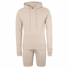 Factory Hoodie Hoodie Short Set Men Top Rated Factory Price Fast Production Pique Men Gym Hoodie Short Tracksuits Solid Color 2 Piece Set