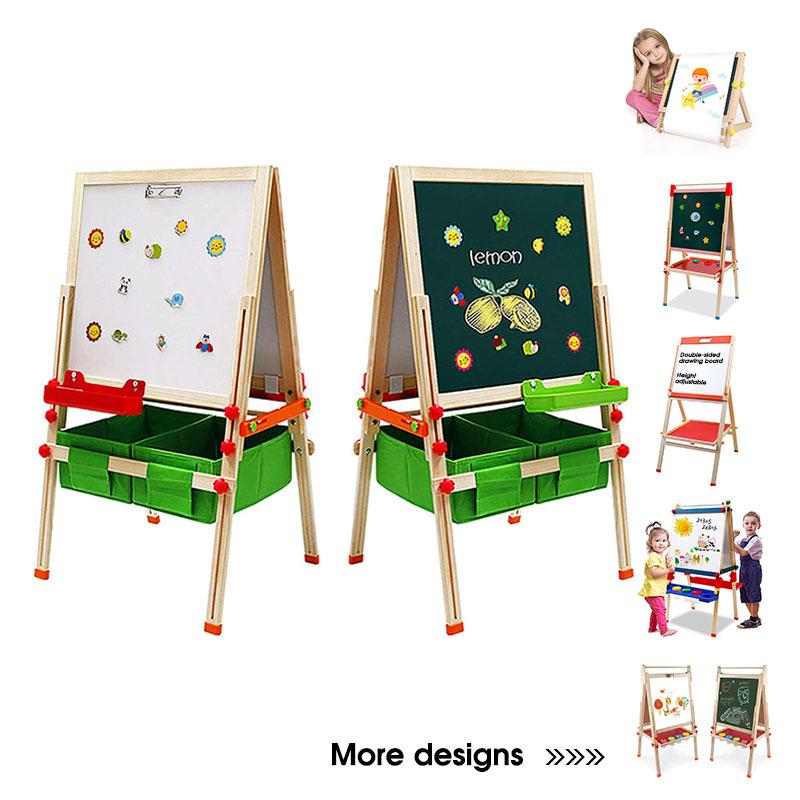 Детская доска для рисования, двусторонняя магнитная деревянная картина из сосны, детский художественный мольберт с ящиками для хранения