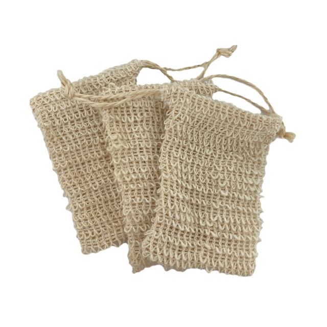 5 PCS PACK Sisal Soap Bag with Drawstring Natural Soap Saver Pouch for Shower Bath