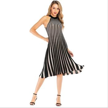 Women Plus Size Stripe Halter Ruffles Elegant Dress Knit Casual Dress Contrast Color Summer Sleeveless Garment DYED Straight