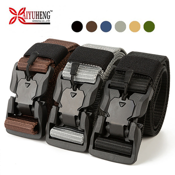 Baiyuheng Wholesale Outdoor Heavy Duty Universal Nylon Adjustable Military Tactical Waist Belt with Quick-Release Metal Buckles