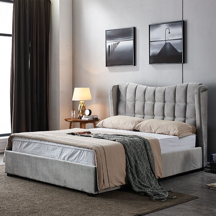 Best selling low price good looking modern popular Turkish gray pneumatic storage fabric king size double bed