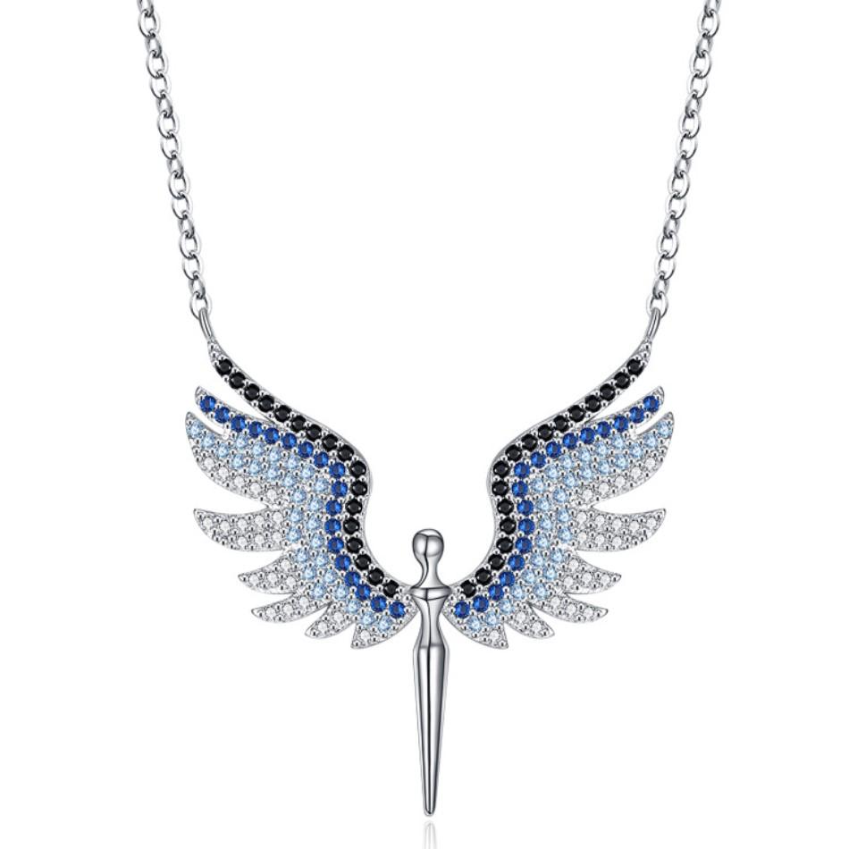 Sterling Silver White Diamond CZ Stone Angel Necklace