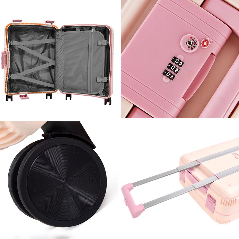 Чемодан для ручной клади BUBULE, чемодан для багажа, розовый чемодан для путешествий