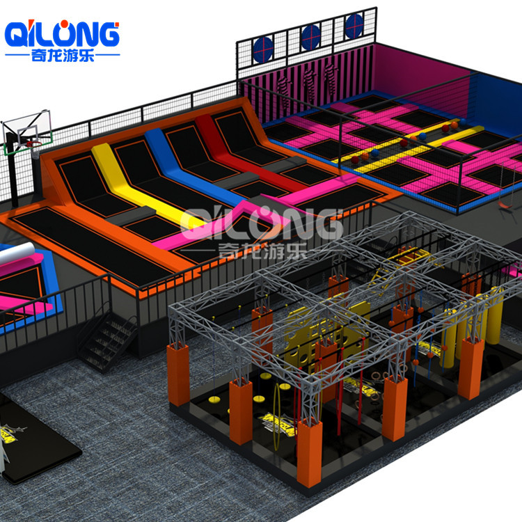 Kid Theme Parks Commercial Business Plan indoor Small Trampoline Park With Ninja Course