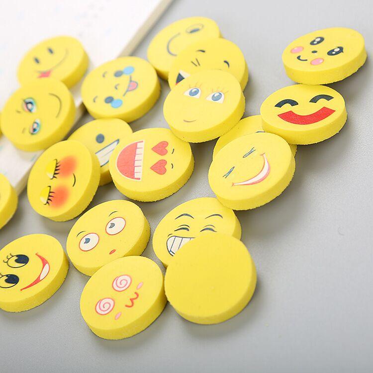 Smile face eraser cute cartoon rubber erasers for children