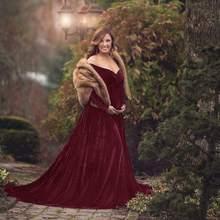 Платья для беременных из золотого бархата; сексуальное платье для фотосессии с v-образным вырезом на плечах; длинное платье для беременных; ...(Китай)