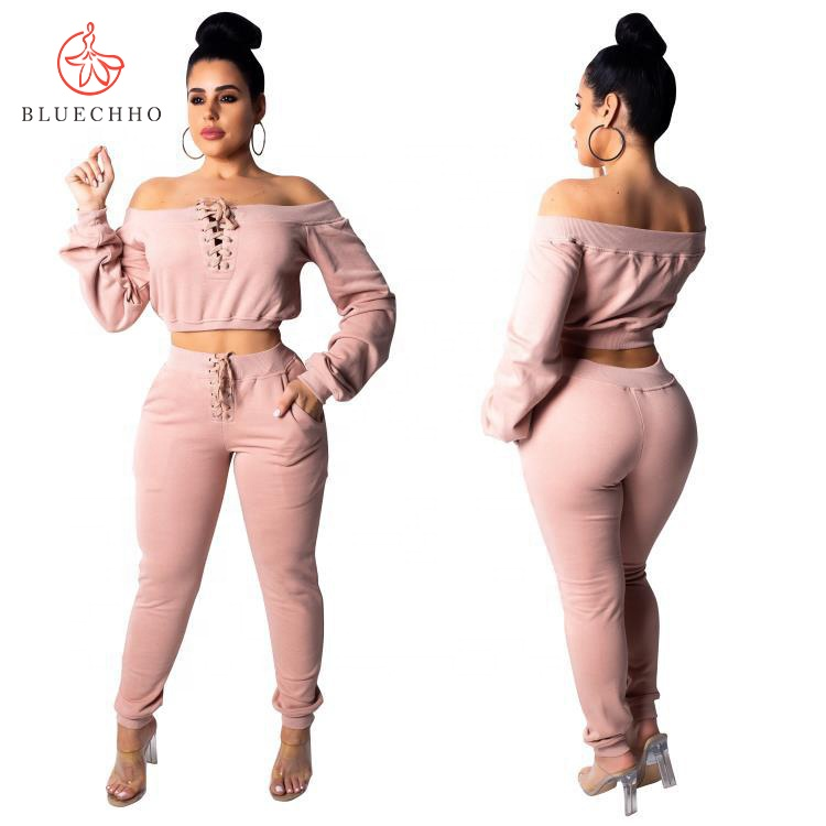 Wholesale Classy Chic Lounge Patch Ribbed Drawstring Clothes Training Hoodies Confortable Women Pants Set