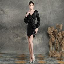 Женские мини-Выпускные платья It's Yiiya, вечерние платья с длинным рукавом и v-образным вырезом, расшитые блестками, на молнии, с DX233-2, 2020(China)