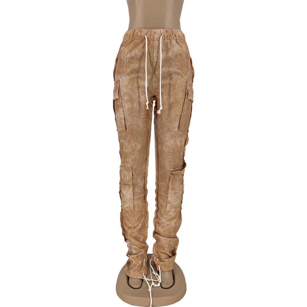 2021 Fall Fashion Drawstring Cotton Sweat Pants Side Pockets Joggers Printed Women Stack Cargo Pant Sweatpants