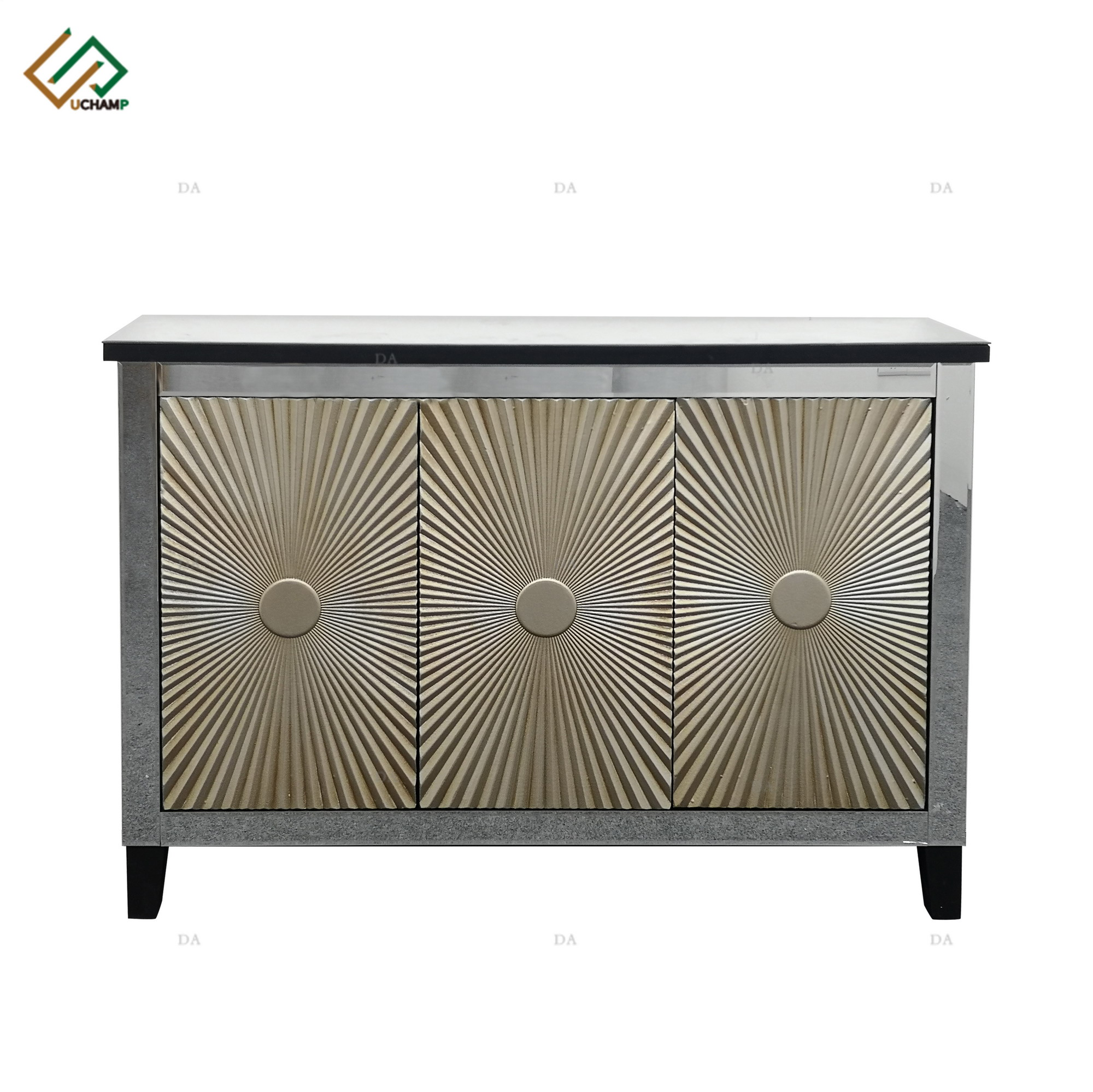 Custom High - quality Fashion Crystal Silver Glass Top Mirrored Console Table