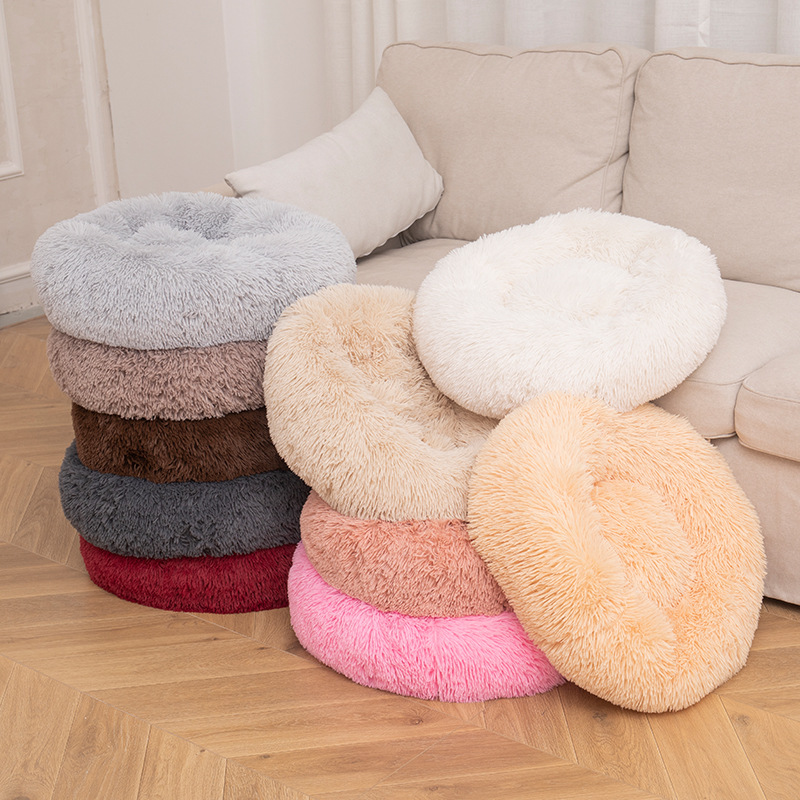 Comfortable cheap round washable long plush pet mat for dog cat warm winter bed house cusion cama de perro