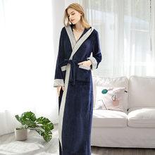 FZSLCYIYI мужской фланелевый Халат-кимоно размера XL, очень длинный халат из кораллового флиса, теплая ночная рубашка для влюбленных(Китай)
