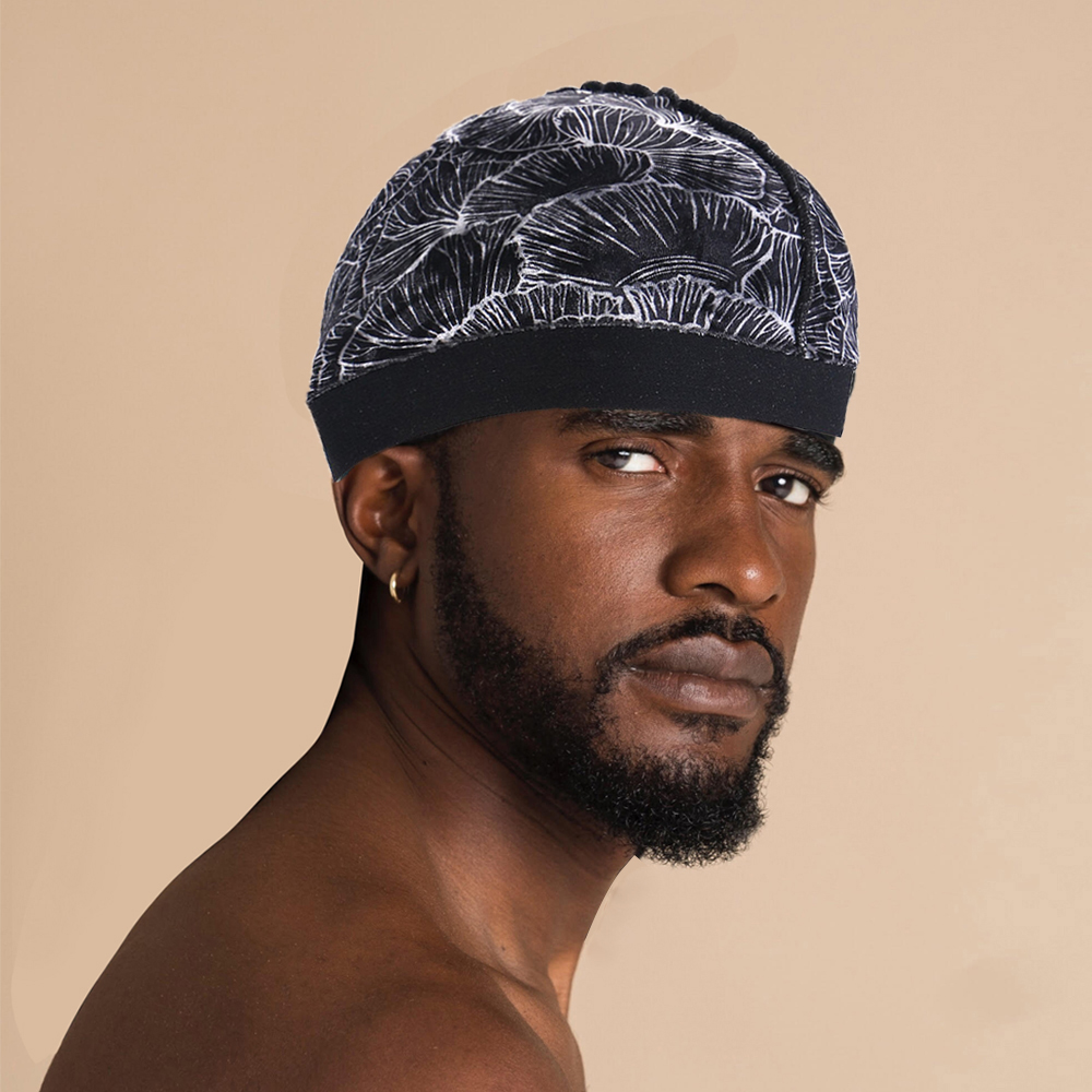 Wholesale elastic band silky satin designer wave caps compression cap dome hat for men 360 waves