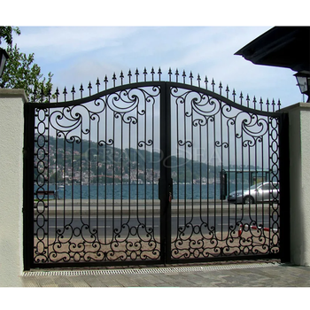Villa entrance ornamental double swing iron gates main wrought iron gate designs with glass