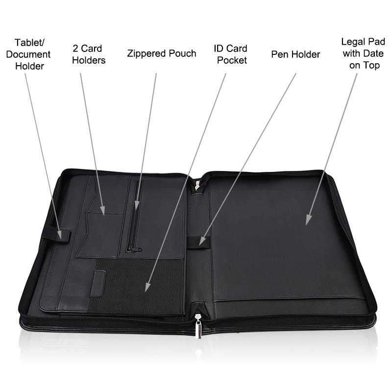 Портативная папка для документов, портфель с молнией