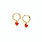 Valentine red heart earrings gold plated hoop earrings personality earrings